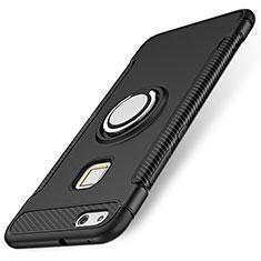 Coque Contour Silicone et Plastique Housse Etui Mat avec Support Bague Anneau pour Huawei P10 Lite Noir