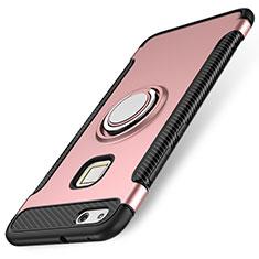 Coque Contour Silicone et Plastique Housse Etui Mat avec Support Bague Anneau pour Huawei P10 Lite Or Rose