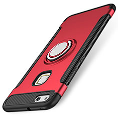 Coque Contour Silicone et Plastique Housse Etui Mat avec Support Bague Anneau pour Huawei P10 Lite Rouge