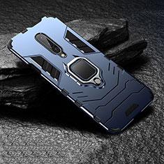 Coque Contour Silicone et Plastique Housse Etui Mat avec Support Bague Anneau pour OnePlus 7 Pro Bleu