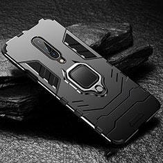 Coque Contour Silicone et Plastique Housse Etui Mat avec Support Bague Anneau pour OnePlus 7 Pro Noir
