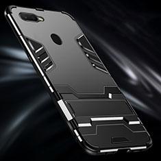 Coque Contour Silicone et Plastique Housse Etui Mat avec Support Bague Anneau pour Oppo A7 Noir