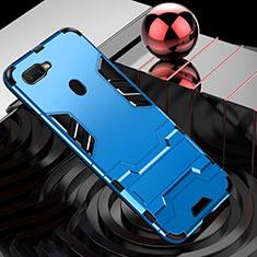 Coque Contour Silicone et Plastique Housse Etui Mat avec Support Bague Anneau pour Oppo AX7 Bleu Ciel