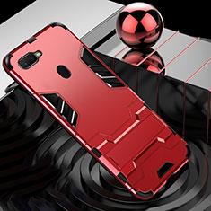 Coque Contour Silicone et Plastique Housse Etui Mat avec Support Bague Anneau pour Oppo AX7 Rouge
