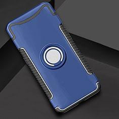 Coque Contour Silicone et Plastique Housse Etui Mat avec Support Bague Anneau pour Oppo Find X Bleu