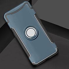 Coque Contour Silicone et Plastique Housse Etui Mat avec Support Bague Anneau pour Oppo Find X Super Flash Edition Cyan
