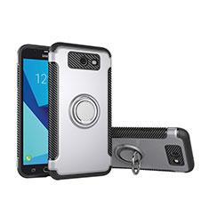 Coque Contour Silicone et Plastique Housse Etui Mat avec Support Bague Anneau pour Samsung Galaxy J5 (2017) Version Americaine Argent