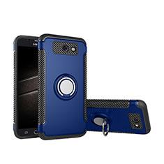 Coque Contour Silicone et Plastique Housse Etui Mat avec Support Bague Anneau pour Samsung Galaxy J5 (2017) Version Americaine Bleu
