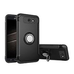 Coque Contour Silicone et Plastique Housse Etui Mat avec Support Bague Anneau pour Samsung Galaxy J5 (2017) Version Americaine Noir