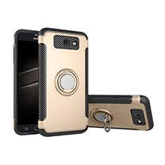 Coque Contour Silicone et Plastique Housse Etui Mat avec Support Bague Anneau pour Samsung Galaxy J5 (2017) Version Americaine Or