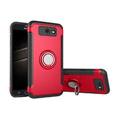 Coque Contour Silicone et Plastique Housse Etui Mat avec Support Bague Anneau pour Samsung Galaxy J5 (2017) Version Americaine Rouge