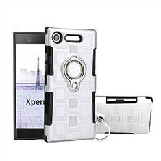 Coque Contour Silicone et Plastique Housse Etui Mat avec Support Bague Anneau pour Sony Xperia XZ1 Compact Blanc