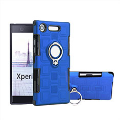Coque Contour Silicone et Plastique Housse Etui Mat avec Support Bague Anneau pour Sony Xperia XZ1 Compact Bleu