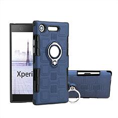 Coque Contour Silicone et Plastique Housse Etui Mat avec Support Bague Anneau pour Sony Xperia XZ1 Compact Bleu Ciel
