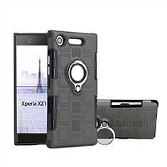Coque Contour Silicone et Plastique Housse Etui Mat avec Support Bague Anneau pour Sony Xperia XZ1 Compact Gris