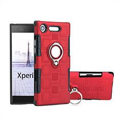 Coque Contour Silicone et Plastique Housse Etui Mat avec Support Bague Anneau pour Sony Xperia XZ1 Compact Rouge