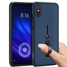 Coque Contour Silicone et Plastique Housse Etui Mat avec Support Bague Anneau pour Xiaomi Mi 8 Pro Global Version Bleu