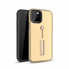 Coque Contour Silicone et Plastique Housse Etui Mat avec Support Bague Anneau S01 pour Apple iPhone 11 Pro Or