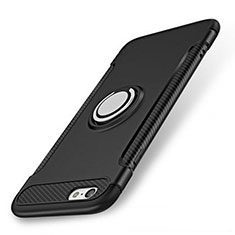 Coque Contour Silicone et Plastique Housse Etui Mat avec Support Bague Anneau S01 pour Apple iPhone 7 Noir