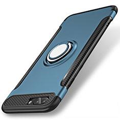 Coque Contour Silicone et Plastique Housse Etui Mat avec Support Bague Anneau S01 pour Apple iPhone 8 Plus Bleu