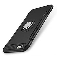 Coque Contour Silicone et Plastique Housse Etui Mat avec Support Bague Anneau S01 pour Apple iPhone SE (2020) Noir