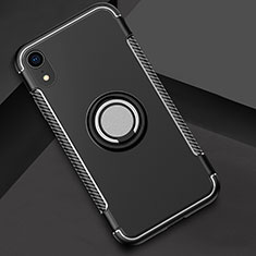 Coque Contour Silicone et Plastique Housse Etui Mat avec Support Bague Anneau S01 pour Apple iPhone XR Noir