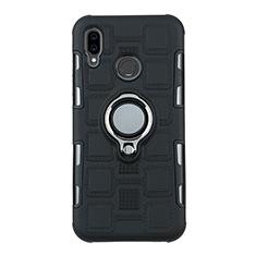 Coque Contour Silicone et Plastique Housse Etui Mat avec Support Bague Anneau S01 pour Huawei P20 Lite Noir