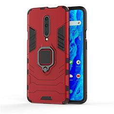 Coque Contour Silicone et Plastique Housse Etui Mat avec Support Bague Anneau S01 pour OnePlus 7 Pro Rouge