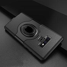 Coque Contour Silicone et Plastique Housse Etui Mat avec Support Bague Anneau S01 pour Samsung Galaxy Note 9 Noir