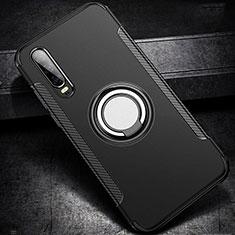 Coque Contour Silicone et Plastique Housse Etui Mat avec Support Bague Anneau S02 pour Huawei P30 Noir