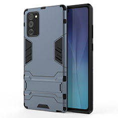 Coque Contour Silicone et Plastique Housse Etui Mat avec Support N01 pour Samsung Galaxy Note 20 5G Bleu