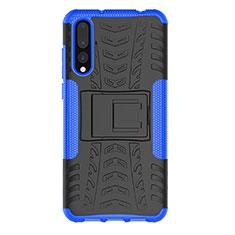 Coque Contour Silicone et Plastique Housse Etui Mat avec Support P02 pour Huawei P20 Pro Bleu