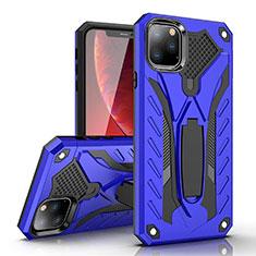Coque Contour Silicone et Plastique Housse Etui Mat avec Support pour Apple iPhone 11 Pro Max Bleu