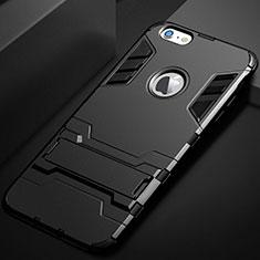 Coque Contour Silicone et Plastique Housse Etui Mat avec Support pour Apple iPhone 6S Noir