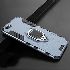 Coque Contour Silicone et Plastique Housse Etui Mat avec Support pour Apple iPhone 7 Bleu
