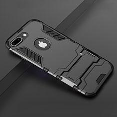 Coque Contour Silicone et Plastique Housse Etui Mat avec Support pour Apple iPhone 7 Plus Noir