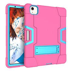 Coque Contour Silicone et Plastique Housse Etui Mat avec Support pour Apple New iPad Air 10.9 (2020) Rose Rouge