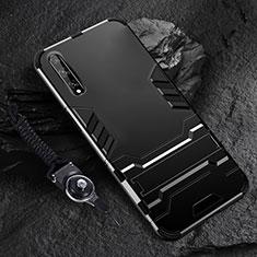 Coque Contour Silicone et Plastique Housse Etui Mat avec Support pour Huawei Enjoy 10S Noir