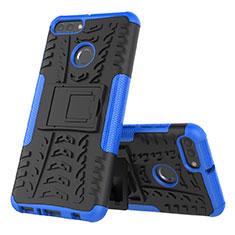 Coque Contour Silicone et Plastique Housse Etui Mat avec Support pour Huawei Enjoy 8 Plus Bleu