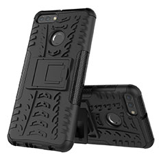 Coque Contour Silicone et Plastique Housse Etui Mat avec Support pour Huawei Enjoy 8 Plus Noir