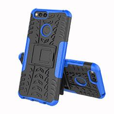 Coque Contour Silicone et Plastique Housse Etui Mat avec Support pour Huawei Enjoy 8e Bleu