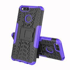 Coque Contour Silicone et Plastique Housse Etui Mat avec Support pour Huawei Enjoy 8e Violet