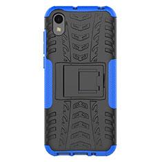 Coque Contour Silicone et Plastique Housse Etui Mat avec Support pour Huawei Enjoy 8S Bleu