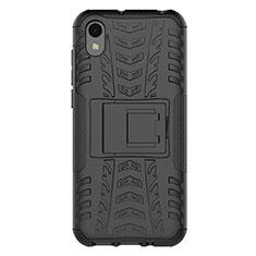Coque Contour Silicone et Plastique Housse Etui Mat avec Support pour Huawei Enjoy 8S Noir