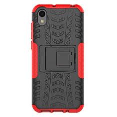 Coque Contour Silicone et Plastique Housse Etui Mat avec Support pour Huawei Enjoy 8S Rouge