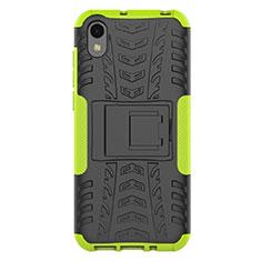 Coque Contour Silicone et Plastique Housse Etui Mat avec Support pour Huawei Enjoy 8S Vert