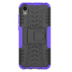 Coque Contour Silicone et Plastique Housse Etui Mat avec Support pour Huawei Enjoy 8S Violet