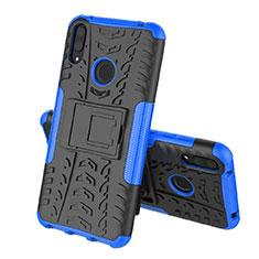 Coque Contour Silicone et Plastique Housse Etui Mat avec Support pour Huawei Enjoy 9 Bleu