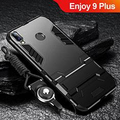 Coque Contour Silicone et Plastique Housse Etui Mat avec Support pour Huawei Enjoy 9 Plus Noir