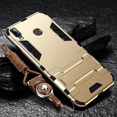 Coque Contour Silicone et Plastique Housse Etui Mat avec Support pour Huawei Enjoy 9 Plus Or